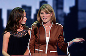 New York, NY - August 31, 2004 --  Jenna Bush, right, and Barbara Bush, left, twin daughters of United States President George W. Bush and first lady Laura Bush, introduce their father who is speaking via satellite, at the 2004 Republican Convention in Madison Square Garden in New York, New York on Tuesday, August 31, 2004..Credit: Ron Sachs / CNP.(RESTRICTION: No New York Metro or other Newspapers within a 75 mile radius of New York City)