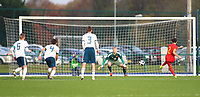 16th November 2019; Leckwith Stadium, Cardiff, Glamorgan, Wales; European Championship Under 19 2020 Qualifiers, Russia under 19s v Wales under 19s; Neco Williams of Wales Under 19 takes his second penalty to score making it 1-2 in the second half - Editorial Use