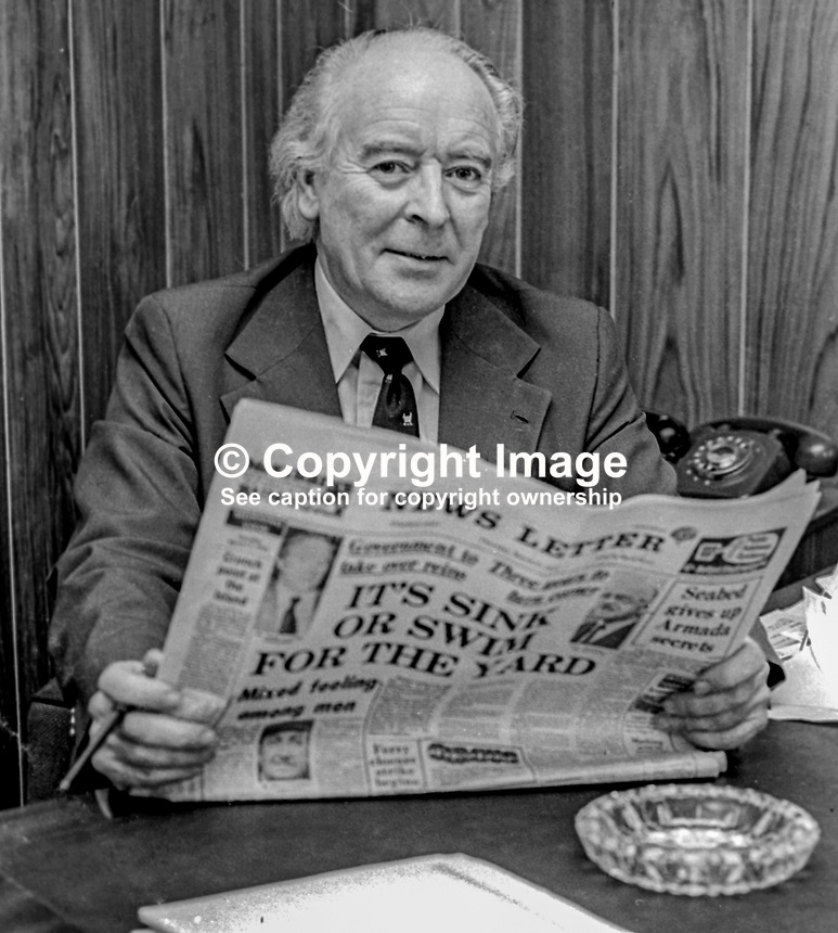 Ken Withers, editor, Newsletter, Belfast, N Ireland, UK. Newsletter, previously the Belfast Newsletter, is an Ulster Unionist supporting morning newspaper. 30th March 1975. 197503300371b<br /> <br /> Copyright Image from Victor Patterson, 54 Dorchester Park, Belfast, UK, BT9 6RJ<br /> <br /> Tel: +44 28 9066 1296<br /> Mob: +44 7802 353836<br /> Voicemail +44 20 8816 7153<br /> Email: victorpatterson@me.com<br /> Email: victorpatterson@gmail.com<br /> <br /> IMPORTANT: My Terms and Conditions of Business are at www.victorpatterson.com