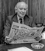 Ken Withers, editor, Newsletter, Belfast, N Ireland, UK. Newsletter, previously the Belfast Newsletter, is an Ulster Unionist supporting morning newspaper. 30th March 1975. 197503300371b<br />
