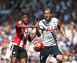 Tottenham's Harry Kane tussles with Southampton's Cuco Martina during the Barclays Premier League match at the White Hart Lane Stadium.  Photo credit should read: David Klein/Sportimage