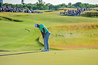 Brooks Koepka (USA) watches his putt on 18 during Sunday's round 4 of the 117th U.S. Open, at Erin Hills, Erin, Wisconsin. 6/18/2017.<br /> Picture: Golffile | Ken Murray<br /> <br /> <br /> All photo usage must carry mandatory copyright credit (&copy; Golffile | Ken Murray)