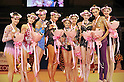 Club team competition award ceremony, OCTOBER 30, 2010 - Rhythmic Gymnastics : (L-R) Second placed Dinamo of Belarus (L-R: Lyubov Cherkashina, Elena Bolotina and Melitina Staniouta), Club champion Gazprom of Russia (L-R: Daria Kondakova, Alexandra Soldatova and Evgeniya Kanaeva) and third placed Deriugina School of Ukraine (L-R: Anastasiya Mulmina, Viktoriia Shynkarenko and Alina Maksymenko) pose with their medals after the team competition during the AEON CUP 2011 Worldwide R.G. Club Championships at Tokyo Metropolitan Gymnasium in Tokyo, Japan. (Photo by AFLO)