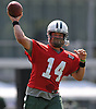 Ryan Fitzpatrick #14, New York Jets Quarterback, throws a pass during the first day of team training camp at Atlantic Health Jets Training Center in Florham Park, NJ on Thursday, July 28, 2016.