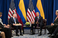 (L to R) President of Colombia Juan Manuel Santos meets with United States President Barack Obama during a bilateral meeting at the Lotte New York Palace Hotel, September 21, 2016 in New York City. In Tuesday's speech to the United Nations General Assembly, Obama stated that 'helping Colombia end Latin America's longest war' was among his major accomplishments as president. Last month, the Colombian government reached a peace agreement with the Revolutionary Armed Forces of Colombia (FARC). <br /> Credit: Drew Angerer / Pool via CNP /MediaPunch