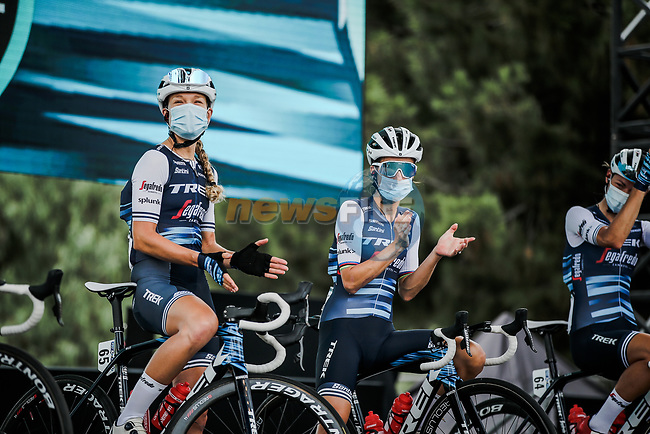 Tayler Wiles (USA) and Elizabeth Deignan (GBR) Trek-Segafredo at the presentation before the start of La Course By Le Tour de France 2020, running 96km from Nice to Nice, France. 29th August 2020.<br /> Picture: ASO/Thomas Maheux   Cyclefile<br /> All photos usage must carry mandatory copyright credit (© Cyclefile   ASO/Thomas Maheux)