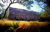 Hawaiian hale (house) built on the island of Kahoolawe, Hawaii
