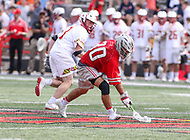 College Park, MD - April 22, 2018: Ohio State Buckeyes Justin Inacio (30) gets the ground ball during game between Ohio St. and Maryland at  Capital One Field at Maryland Stadium in College Park, MD.  (Photo by Elliott Brown/Media Images International)
