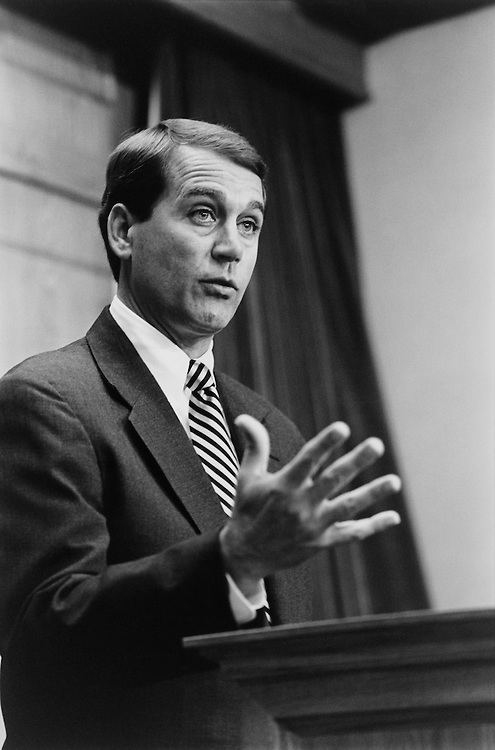 Rep. John Andrew Boehner, R-Ohio., House of Representatives Member, House Republican Conference Chairman, at a press conference on term-limits Thursday. March 23, 1995 (Photo by Laura Patterson/CQ Roll Call)