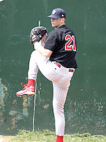 August 15, 2004:  Pitcher Gavin Floyd of the Scranton-Wilkes Barre Red Barons, Class-AAA International League affiliate of the Philadelphia Phillies, during a game at Frontier Field in Rochester, NY.  Photo by:  Mike Janes/Four Seam Images