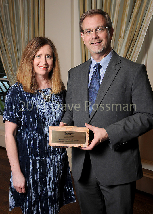 """Michael Goforth and his wife Ginger representing Development Services Group at Preservation Houston's """"The Cornerstone Dinner""""  presenting the 2018 Good Brick Awards at the River Oaks Country Club Friday March 02,2018. (Dave Rossman Photo)"""