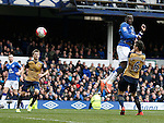 Romelu Lukaku of Everton directs a header towards goal during a rare attack during the Barclays Premier League match at The Goodison Park Stadium. Photo credit should read: Simon Bellis/Sportimage