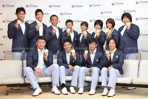 Japan team group (JPN), <br /> AUGUST 15, 2016 - Judo : <br /> Japaese Judo medalist attend a media conference at Narita Airport in Chiba, Japan. Japanese Judo players won 3 gold medals, 1 silver medal and 8 bronze medals in the Rio 2016 Olympic Games. (Photo by AFLO SPORT)