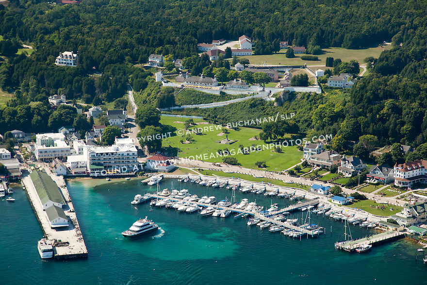 Mackinac Island Harbor, Docks, Village, and historic Fort Mackinac