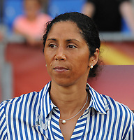 20170721 - TILBURG , NETHERLANDS : German coach Steffi Jones  pictured during the female soccer game between Germany and Italy  , the second game in group B at the Women's Euro 2017 , European Championship in The Netherlands 2017 , Friday 21 th June 2017 at Stadion Koning Willem II  in Tilburg , The Netherlands PHOTO SPORTPIX.BE | DIRK VUYLSTEKE