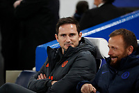 25th February 2020; Stamford Bridge, London, England; UEFA Champions League Football, Chelsea versus Bayern Munich; Chelsea Manager Frank Lampard in the dugout before kick-off