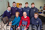 Sheila Daly and Jerry Cronin who are learning to use computers with the held of students at St Brendans College Killarney on Tuesday front  Sheila Daly and Jerry Cronin, Charlie Joy. Back row: Darren Crowley, Ethan Fleming, Ryan Casey, Sean Doherty, Sean courtney