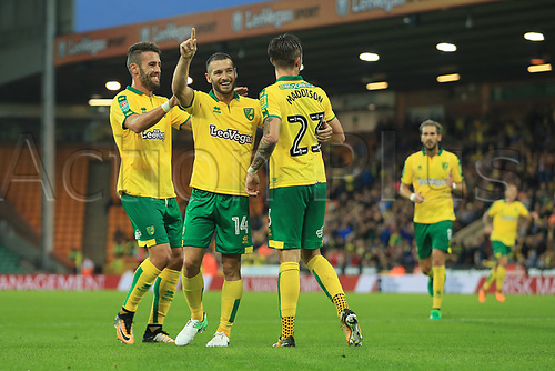 August 8th 2017, Carrow Road, Norwich, England; Carabao Cup First Round; Norwich City versus Swindon Town; Wesley Hoolahan of Norwich City celebrates with James Maddison of Norwich City after he scores and makes it 3-1