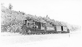 Fireman side view of C-19 #340 with box car and weed burner near Durango, CO.<br /> D&amp;RGW  near Durango, CO  Taken by Perry, Otto C. - 6/16/1942