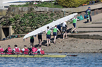 Mortlake/Chiswick, GREATER LONDON. United Kingdom. Masters D - Ireland<br /> Neptune RC (IE)/Commercial Rowing Club, Ireland<br /> (IE)/Galway Rowing Club (IE)/Molesey Boat Club/Lady<br /> Elizabeth Boat Club (IE)/Belfast Boat Club (IE), remove their boat from the River TSS Boathouse. 2017 Vesta Veterans Head of the River Race, The Championship Course, Putney to Mortlake on the River Thames.<br /> <br /> <br /> Sunday  26/03/2017<br /> <br /> [Mandatory Credit; Peter SPURRIER/Intersport Images]