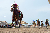 Grace Hall (no. 5), ridden by Javier Castellano and trained by Anthony Dutrow, wins the 44th running of the grade 2 Gulfstream Oaks for three year old fillies on March 31, 2012 at Gulfstream Park in Hallandale Beach, Florida.  (Bob Mayberger/Eclipse Sportswire)