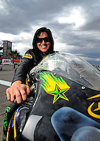 Oct. 31, 2008; Las Vegas, NV, USA: NHRA pro stock motorcycle rider Angelle Sampey during qualifying for the Las Vegas Nationals at The Strip in Las Vegas. Mandatory Credit: Mark J. Rebilas-
