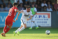 Partizan Belgrade's Zoran Tosic under pressure from Connah's Quay Nomads' Callum Roberts<br /> <br /> Photographer Kevin Barnes/CameraSport<br /> <br /> UEFA Europa League 2nd Qualifying Round 1st Leg - Connah's Quay Nomads v Partizan Belgrade - Thursday July 25th 2019 - Belle Vue Stadium - Rhyl<br />  <br /> World Copyright © 2019 CameraSport. All rights reserved. 43 Linden Ave. Countesthorpe. Leicester. England. LE8 5PG - Tel: +44 (0) 116 277 4147 - admin@camerasport.com - www.camerasport.com