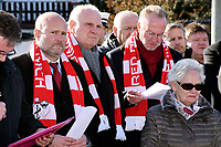6th February 2020, Munich Riem Airport, Munich, Germany; Christian Vorlander, Uli Hoeness and Karl Heinz Rummenigge at the laying of the foundation stone for a commemorative display case to commemorate the 62nd anniversary of the air crash at the former Munich Riem Airport, in which 23 people died, including eight Manchester United football players