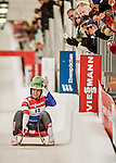 5 December 2015: Raychel Germaine, competing for the United States of America, crosses the finish line on her second run of the Viessmann World Cup Women's Luge, with a combined 2-run time of 1:28.503 and a 7th place result at the Olympic Sports Track in Lake Placid, New York, USA. Mandatory Credit: Ed Wolfstein Photo *** RAW (NEF) Image File Available ***