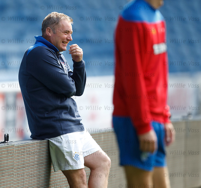 Ally McCoist having a wee laugh at training