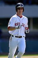 Outfielder Josh Reddick #24 of the Pawtucket Red Sox during a game versus the Buffalo Bisons on 4-17-11 at McCoy Stadium in Pawtucket, Rhode Island. Photo by Ken Babbitt /Four Seam Images