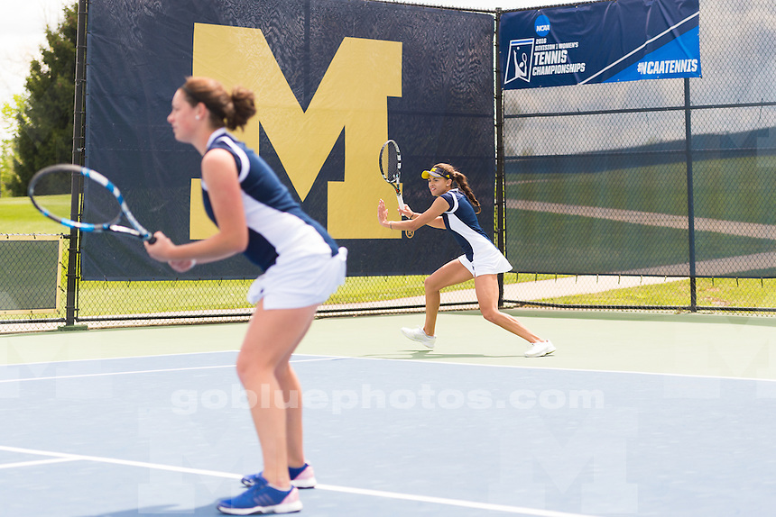 The University of Michigan women's tennis team defeats Ball State, 4-0,in the first round of the NCAA Regionals held at the Varsity Tennis Center in Ann Arbor, MI. on May 13, 2016.