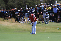Webb Simpson (USA) on the 15th green during the First Round - Four Ball of the Presidents Cup 2019, Royal Melbourne Golf Club, Melbourne, Victoria, Australia. 12/12/2019.<br /> Picture Thos Caffrey / Golffile.ie<br /> <br /> All photo usage must carry mandatory copyright credit (© Golffile | Thos Caffrey)
