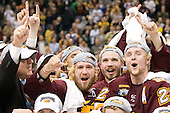 Drew Olson (Duluth - 8), Jake Hendrickson (Duluth - 15), Mike Connolly (Duluth - 22) - The University of Minnesota-Duluth Bulldogs celebrated their 2011 D1 National Championship win on Saturday, April 9, 2011, at the Xcel Energy Center in St. Paul, Minnesota.
