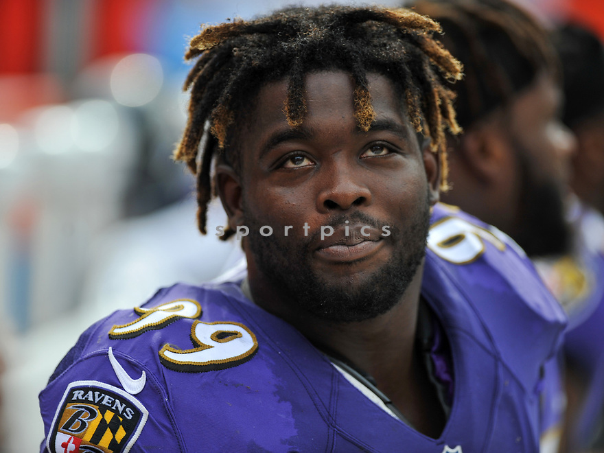 CLEVELAND, OH - JULY 18, 2016: Defensvie tackle Timmy Jernigan #99 of the Baltimore Ravens watches the action from the sideline in the third quarter of a game against the Cleveland Browns on July 18, 2016 at FirstEnergy Stadium in Cleveland, Ohio. Baltimore won 25-20. (Photo by: 2017 Nick Cammett/Diamond Images)  *** Local Caption *** Timmy Jernigan(SPORTPICS)