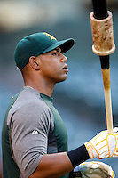 Yoenis Cespedes #52 of the Oakland Athletics before a game against the Los Angeles Angels at Angel Stadium on September 10, 2012 in Anaheim, California. Oakland defeated Los Angeles 3-1. (Larry Goren/Four Seam Images)