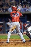 Gabriel Guerrero (23) of the Louisville Bats at bat against the Toledo Mud Hens at Fifth Third Field on June 16, 2018 in Toledo, Ohio. The Mud Hens defeated the Bats 7-4.  (Brian Westerholt/Four Seam Images)