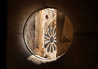 Rose window of the incomplete Glory Façade, considered as the most impressive front of the church by Gaudí. La Sagrada Familia, Barcelona, Catalonia, Spain, Roman Catholic basilica, built by Antoni Gaudí (Reus 1852 ? Barcelona 1926) from 1883 to his death. Picture by Manuel Cohen
