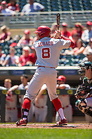 Tanner Lubach (8) of the Nebraska Cornhuskers bats during a 2015 Big Ten Conference Tournament game between the Nebraska Cornhuskers and Michigan State Spartans at Target Field on May 20, 2015 in Minneapolis, Minnesota. (Brace Hemmelgarn/Four Seam Images)