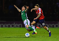 Lincoln City's Billy Knott vies for possession with York City's Danny Holmes<br /> <br /> Photographer Andrew Vaughan/CameraSport<br /> <br /> The Buildbase FA Trophy Semi-Final First Leg - York City v Lincoln City - Tuesday 14th March 2017 - Bootham Crescent - York<br />  <br /> World Copyright &copy; 2017 CameraSport. All rights reserved. 43 Linden Ave. Countesthorpe. Leicester. England. LE8 5PG - Tel: +44 (0) 116 277 4147 - admin@camerasport.com - www.camerasport.com