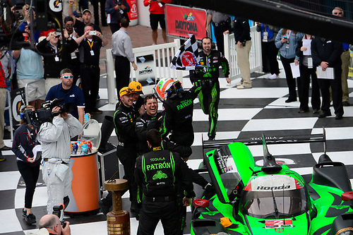 28-31  January, 2016, Daytona Beach, Florida USA<br /> Podium:  2, Honda HPD, Ligier JS P2, P, Scott Sharp, Ed Brown, Joannes van Overbeek,  celebrate the overall victory with driver Luis Felipe Derani who drove the last stint and took the checkered flag.<br /> ©2016, Richard Dole<br /> LAT Photo USA