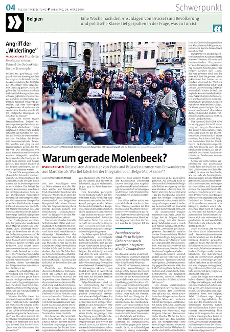 die tageszeitung taz (German daily) on islamism and migration in Brussels, Belgium, 03.2016.<br />