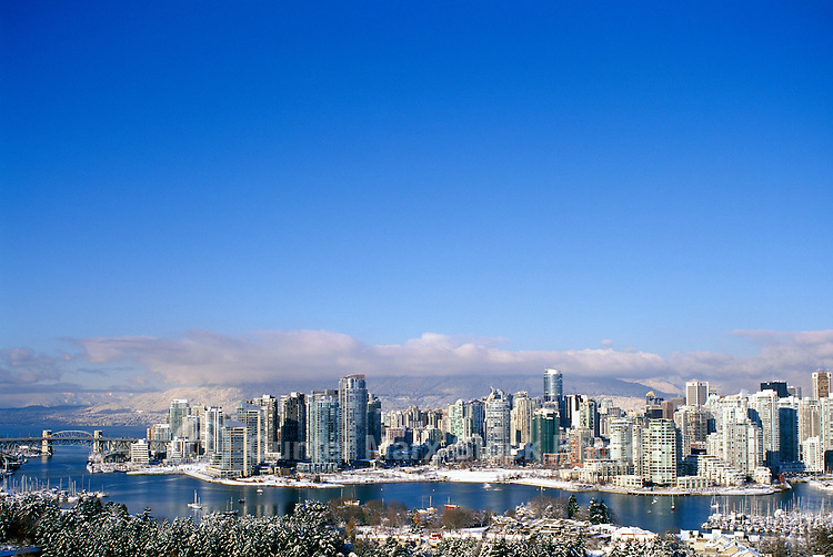 Vancouver, BC, British Columbia, Canada - City Skyline, False Creek, High Rise Apartment / Condominium Buildings, Winter
