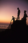 Fishermen on the beach in Colva in Goa in India.