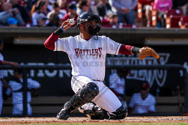 Wisconsin Timber Rattlers catcher Yoel Vasquez (23) during a Midwest League game against the Quad Cities River Bandits on April 8th, 2017 at Fox Cities Stadium in Appleton, Wisconsin.  Wisconsin defeated Quad Cities 3-2. (Brad Krause/Krause Sports Photography)