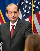 United States Secretary of Labor Alex Acosta listens to a reporter's question as he holds a press conference at the Department of Labor in Washington, DC on Wednesday, July 10, 2019.  He was discussing his prosecution of Jeffrey Epstein in Florida in 2008.<br /> Credit: Ron Sachs / CNP<br /> (RESTRICTION: NO New York or New Jersey Newspapers or newspapers within a 75 mile radius of New York City)