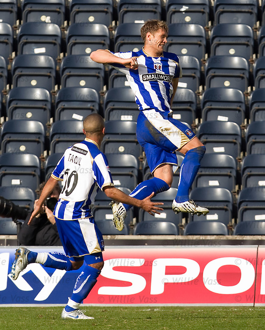 Allan Russell jumps in the air as he celebrates scoring goal no 2 for Kilmarnock