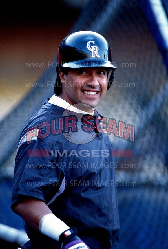 Vinny Castilla of the Colorado Rockies participates in a Major League Baseball game at Dodger Stadium during the 1998 season in Los Angeles, California. (Larry Goren/Four Seam Images)