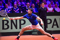 Le joueur de tennis J&eacute;r&eacute;my Chardy oppos&eacute; au joueur Croate Borna Coric lors de la  Finale de la Coupe Davis France vs Croatie, au Stade Pierre Mauroy &agrave; Villeneuve d'Ascq . Match gagn&eacute; par l'&eacute;quipe de Croatie.<br /> France, Villeneuve d'Ascq , 23 novembre 2018.<br /> French tennis player J&eacute;r&eacute;my Chardy vs Croatian tennis player Borna Coric, during the final of the Davis Cup, at the Pierre Mauroy stadium in Villeneuve d'Ascq .<br /> Match won by Croatian team.<br /> France, Villeneuve d'Ascq , 23 November 2018