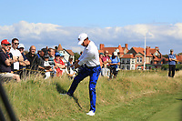 Andy Ogletree (USA) on the 1st green during Day 2 Singles at the Walker Cup, Royal Liverpool Golf CLub, Hoylake, Cheshire, England. 08/09/2019.<br /> Picture Thos Caffrey / Golffile.ie<br /> <br /> All photo usage must carry mandatory copyright credit (© Golffile | Thos Caffrey)